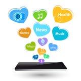 Appareil électronique intelligent de nouvelle technologie de montre avec des icônes d'apps dessus Photo stock