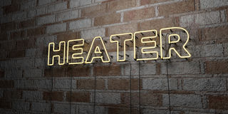 APPAREIL DE CHAUFFAGE - Enseigne au néon rougeoyant sur le mur de maçonnerie - 3D a rendu l'illustration courante gratuite de red Photographie stock libre de droits
