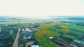 Appareil de photographie aérienne bourdonnant dans au-dessus des champs agricoles et produisant des construstions 4K banque de vidéos