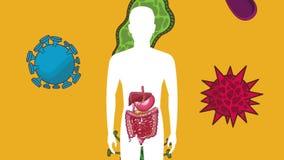 Appareil digestif avec l'animation du mal d'estomac HD illustration de vecteur