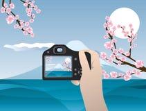 Appareil-photo à disposition Photo de voyage du mont Fuji Image libre de droits