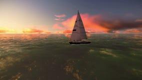 Appareil-photo autour d'un voilier sur l'océan avec une belle vidéo de coucher du soleil banque de vidéos