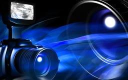 Appareil-photo avec la lumière bleue illustration de vecteur