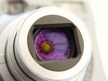 Appareil-photo avec la réflexion de fleurs Photo libre de droits