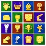 Appareil-photo, cri, globe, objets pour les films rewarding Les récompenses de film ont placé des icônes de collection en stock p illustration stock
