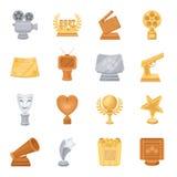 Appareil-photo, cri, globe, objets pour les films rewarding Les récompenses de film ont placé des icônes de collection en stock d illustration libre de droits
