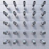 appareil-photo de 25 télévisions en circuit fermé vous observant illustration stock