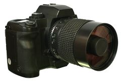 Appareil-photo de Digitals SLR avec la vue de côté de lentille de miroir. Image stock
