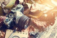 Appareil-photo de film de vintage avec la poussière sur la feuille sèche et en bois en nature Photographie stock libre de droits