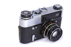 Appareil-photo de film sur un fond blanc Photographie stock