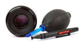 Appareil-photo de lentille de nettoyage Photo libre de droits