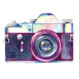 Appareil-photo de photo de vintage d'aquarelle d'isolement illustration stock