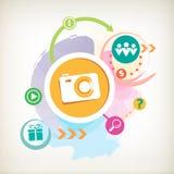 Appareil-photo de photo sur un fond coloré d'aquarelle avec différent Photo stock