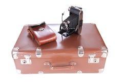 Appareil-photo de photographie de vintage avec le cas en cuir Photos libres de droits