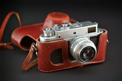 Appareil-photo de Soviétique de cru Photographie stock