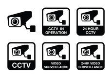 Appareil-photo de télévision en circuit fermé, icônes visuelles de surveillance réglées illustration de vecteur