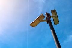 Appareil-photo de télévision en circuit fermé, surveillance électronique anti-terroriste d'ère moderne photo stock