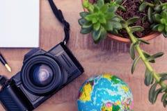 Appareil-photo et globe par l'usine mise en pot sur le bureau Photo stock
