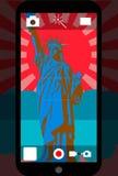 Appareil-photo futé de téléphone avec la statue de la liberté, illustration de vecteur Photos libres de droits