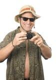 Appareil photo numérique mâle de touristes aîné de Moyen Âge Image libre de droits