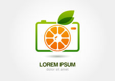 Appareil-photo orange coloré abstrait de photo de fruit Te d'icône de logo de vecteur Photographie stock