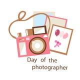 Appareil-photo rose sur le fond blanc illustration stock