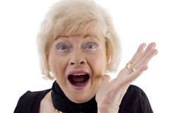 appareil-photo semblant le vieux femme de verticale Images libres de droits