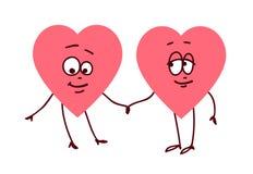 Appareillez des coeurs tenant des mains Concept d'appui et d'aide d'amour d'amitié illustration libre de droits