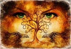 Appareillez des corbeaux avec l'arbre du symbole de la vie et des yeux femelles verts de déesse sur l'horizon illustration libre de droits