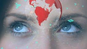 Appareillez des yeux et d'un globe avec les lignes asymétriques et les symboles futuristes illustration de vecteur