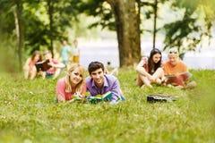 Appareillez les étudiants réussis avec un manuel en parc un jour ensoleillé Photo libre de droits