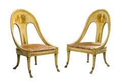 Appareillez les chaises égyptiennes de style peintes par vintage antique d'isolement sur W images stock