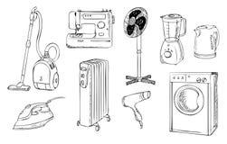 Appareils électroménagers quotidiens réglés Image libre de droits