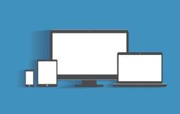 Appareils électroniques avec les écrans vides desktop illustration libre de droits
