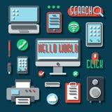 Appareils électroniques de bureau pour des affaires Vecteur illustration stock
