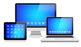 Appareils électroniques sur un blanc illustration stock
