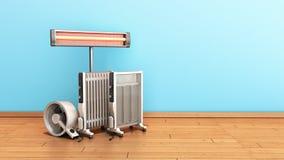 Appareils de chauffage remplis d'huile et infrarouges 3 de fan de convection de dispositifs de chauffage illustration de vecteur