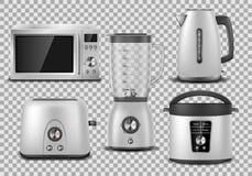 Appareils de cuisine Micro-onde réaliste, bouilloire, mélangeur, four, presse-fruits, grille-pain, maquette argentée de multicook illustration de vecteur