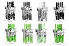 Appareils de cuisine, un ensemble de cuillères, couteaux photos libres de droits