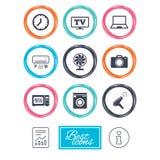 Appareils ménagers, icônes de dispositif Signe de l'électronique Photographie stock