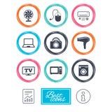 Appareils ménagers, icônes de dispositif Signe de l'électronique Image stock