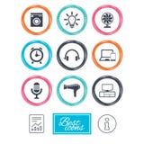 Appareils ménagers, icônes de dispositif Signe de ventilateur Images libres de droits