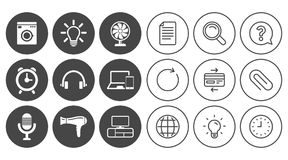 Appareils ménagers, icônes de dispositif Signe de ventilateur Photographie stock