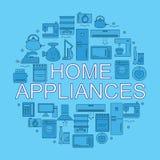 Appareils ménagers Icônes des appareils ménagers placés dans un cercle Photos stock