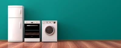Appareils ménagers sur un plancher en bois illustration 3D Photo stock