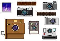 Appareils-photo de film et d'instantané de vintage illustration de vecteur