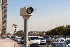 Appareils-photo de vitesse dans la ville Image stock