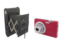 Appareils-photo modernes et antiques d'isolement Image stock