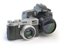 Appareils photo numériques Dslr et stylisé mirrorless au rétro vintage c Photographie stock