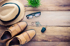 Apparel accessory for men on the wooden floor - tone vintage. Apparel accessory for men on the wooden floor - tone vintage Royalty Free Stock Photos